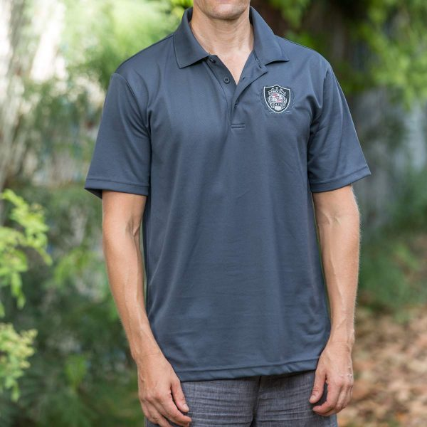 HPD Dri-Fit Patch/Wreath Polo Shirt - Charcoal